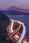 Japan Mt Fuji And Tomei Expressway, Shizuoka, Japan.scenic View Of Fuji Mountain With Long Exposure  poster