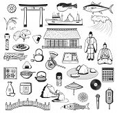 Japanese Vector Icons With Culture, Travel And Food Symbols Of Japan. Pagoda, Fish And Lantern Sketc poster