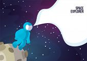 Astronaut Astronaut Walking On The Moon Or Asteroid. Space Exlorer Man In Blue Space Suit In Deep Sp poster