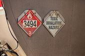 Close Up On Red Fire Sign With 3494 Fire Symbol And White Toxic Inhalation Hazard Sign, Warning Sign poster