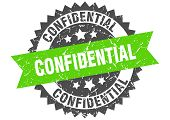 Confidential Grunge Stamp With Green Band. Confidential poster