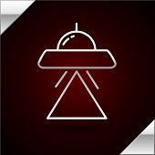 Silver Line Ufo Flying Spaceship Icon Isolated On Dark Red Background. Flying Saucer. Alien Space Sh poster