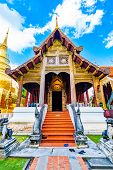 Wat Phra Singh Temple In Chiang Mai City, Thailand. Wooden Building Is Ancient Place Of Buddhist Spi poster