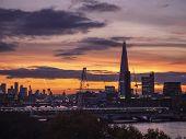 Majestic Dawn Sunrise Landscape Cityscape Over London City Sykline Looking East Along River Thames poster