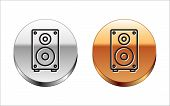 Black Line Stereo Speaker Icon Isolated On White Background. Sound System Speakers. Music Icon. Musi poster