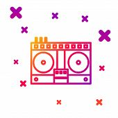 Color Line Dj Remote For Playing And Mixing Music Icon Isolated On White Background. Dj Mixer Comple poster