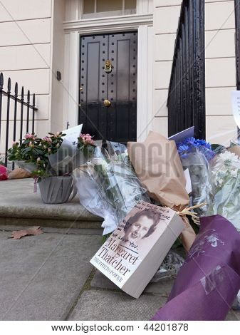 LONDON - UK, April 08: Flowers and messages in front of Margaret Thatcher's residence on Chester Square on April 8, 2013 in London.