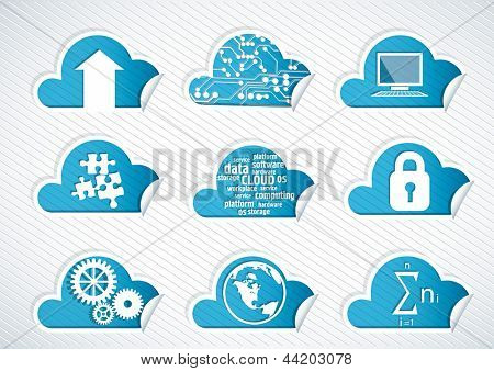 set of the cloud technology icons.