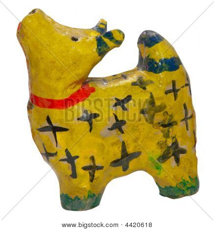 Folk Clay Toy Cow Figurine