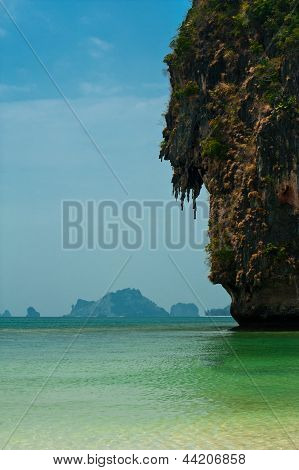 Tropical Beach Landscape With Rock Formation Island And Ocean. Pranang Cave Beach, Thailand