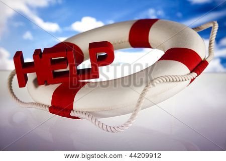 Lifebuoy and help concept