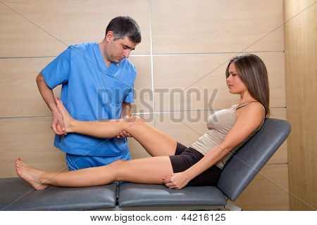 examination and mobilization of knee joint doctor and woman patient