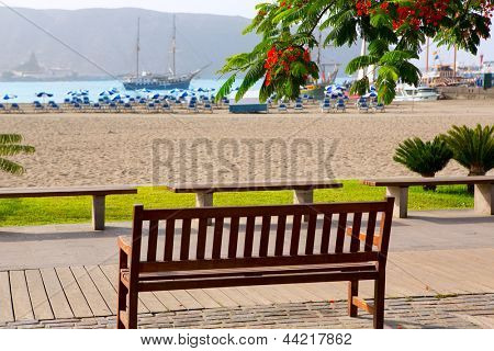 Los Cristianos beach in Arona Tenerife south at Canary Islands