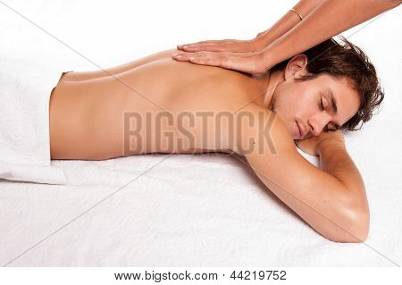 Young man receiving a massage