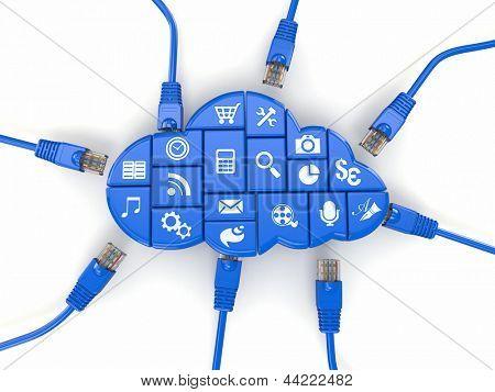 Ã??Ã???loud computing concept. Application of software and internet cables. 3d
