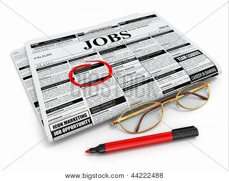 Search job. Newspaper with advertisments, glasses and marker. 3d