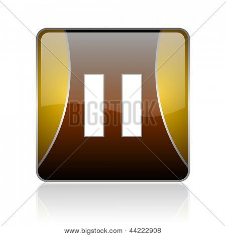 golden square glossy web icon on white background with refection