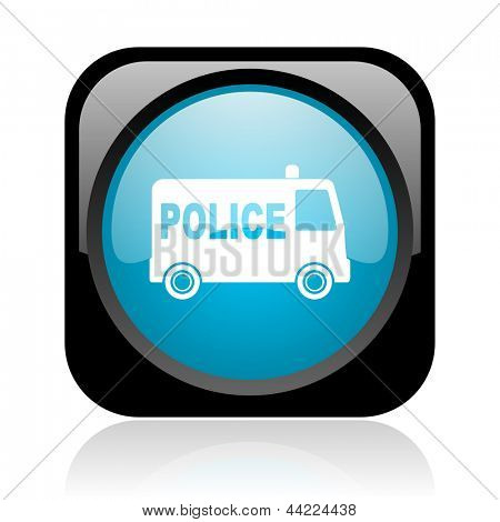 police black and blue square web glossy icon