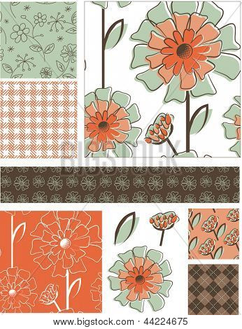 Fresh Spring Floral Vector Seamless Patterns and Elements. Use as fills, digital paper, or print off onto fabric to create unique items.