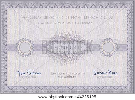 Certificado guilloche violeta vale plantilla horizontal A4 Formato Raster