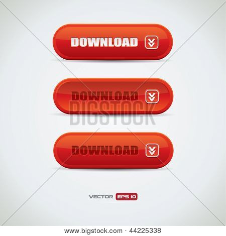 Red download buttons with reflection