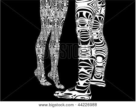Man And Woman Tattoo Legs Vector