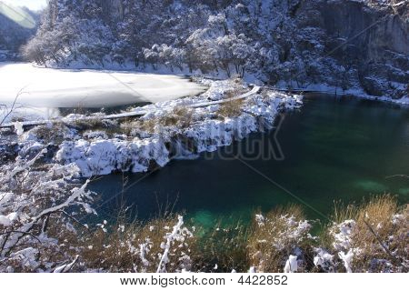Winter-snow In Plitvice Lakes Nationa Park, Gospic, Croatia