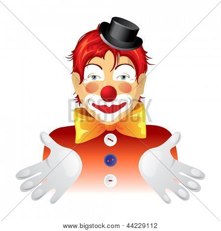 Red haired clown over white background