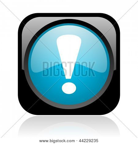 exclamation sign black and blue square web glossy icon