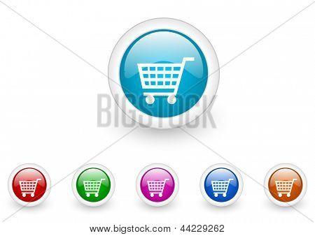 shopping cart circle web glossy icon colorful set