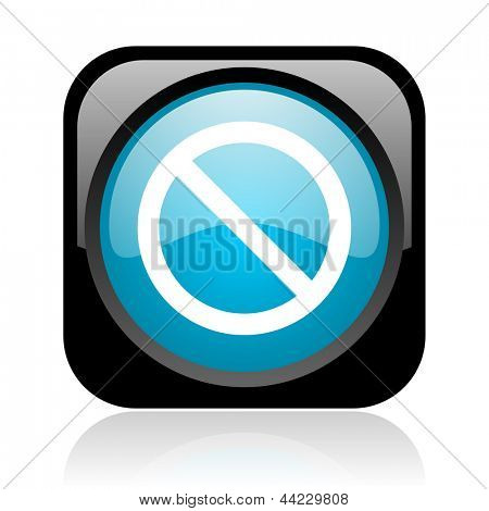 access denied black and blue square web glossy icon