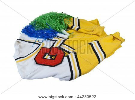 Letterman Sweater With Letter And Pom Poms