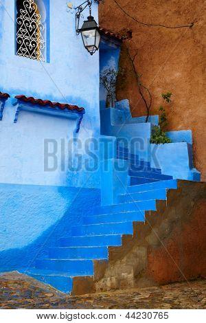 Inside of  moroccan blue town Chefchaouen medina