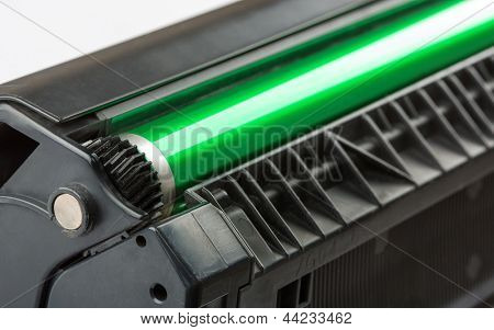 Closeup of printer toner cartridge