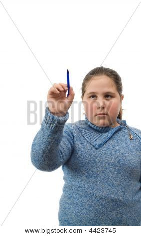 Isolated Girl Writing On White