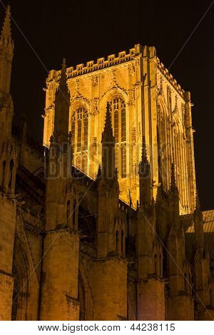 YORK, UK - MARCH 30: Detail of the Central Tower of York Minster illuminated at night. The Minster dates back from 1291 March 30, 2013 in York.