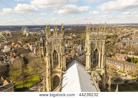 YORK, UK - MARCH 30: Roof of York Minster overlooking city. The Minster dates back from 1291 March 30, 2013 in York.
