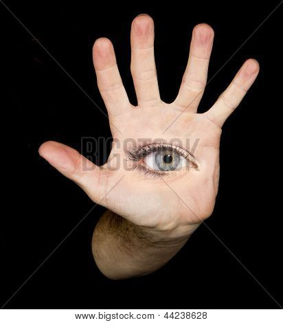 eye in hand in the black background