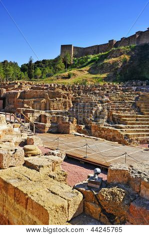 Roman Theater in Malaga, Spain, with the Alcazaba in the background
