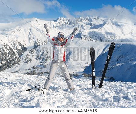 Cheerful Skier On The Top Of Mountain Pirin