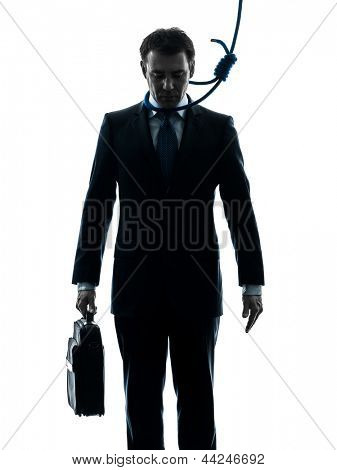 one caucasian business man with hangman noose around the neck  in silhouette studio isolated on white background