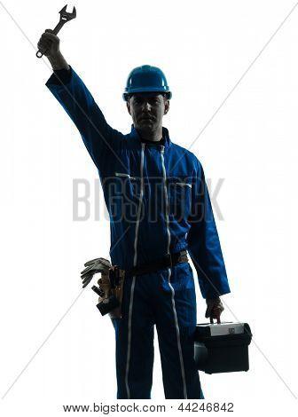 one caucasian repairman worker salutingsilhouette in studio on white background