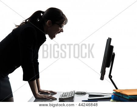 one caucasian business woman computer computing screaming angry  in silhouette studio isolated on white background