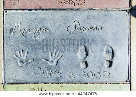 Morgan Freemans Handprints In Hollywood Boulevard In The Concrete Of Chinese Theatre's Forecourt