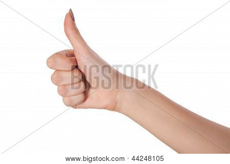 Female Hand Showing Thumbs Up Sign Isolated On White