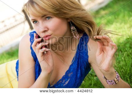 Beutiful Woman Talking On The Cell-phone