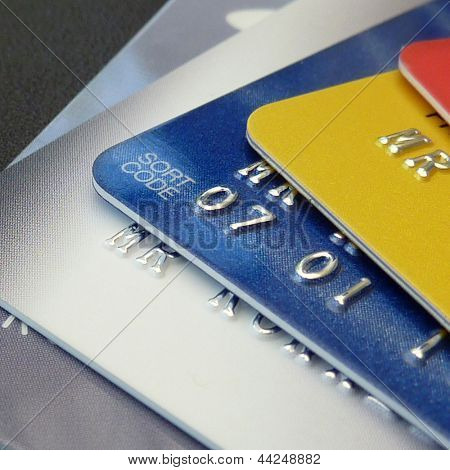 Closeup of a selection of credit and debit cards