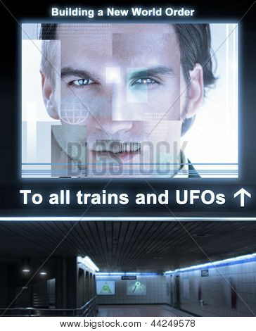 Fantastical concept photo depticting an ominous train station with glowing poster reading