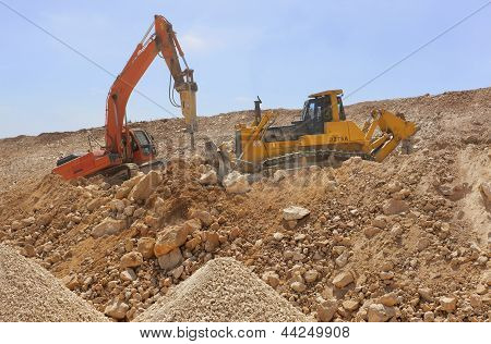 Excavator Machines Loading Soil