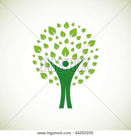 A pictographic image of a green man